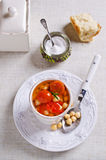Clear soup with vegetables Stock Photo