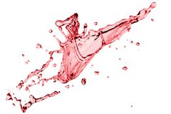 Red splash on a white. Clear splash of red wine or juice water with drops. Isolated on a white stock image