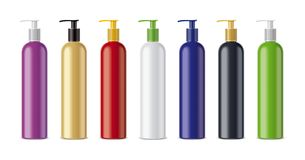Clear Sprayer Colored Bottles Stock Images
