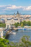 Clear spring day view of the Chain bridge, the Danube and Saint Istvan`s basil from Buda castle area in Budapest, Hungary.  Royalty Free Stock Photography