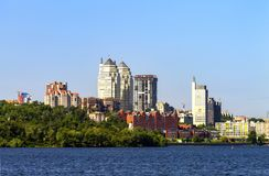 A clear summer morning on the Dnieper River, a view of the buildings and skyscrapers of the Dnipro city, an urban landscape. Dnipropetrovsk, Ukraine stock image