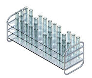 Clear Test Tubes in Rack Royalty Free Stock Photo
