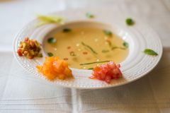 Clear tomato soup with chopped vegetables Stock Image