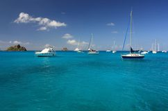 Clear torquoise water, yachts, boats Royalty Free Stock Photo