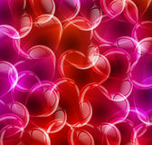 Clear transparent hearts on red background Royalty Free Stock Image