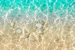 Clear transparent sea water with sand and little stones Stock Photo