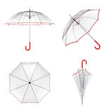 Clear transparent umbrella isolated on white background. 3D illustration . Clear transparent umbrella isolated on white background. 3D illustration Stock Images