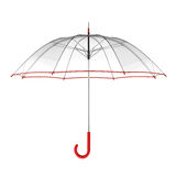 Clear transparent umbrella isolated on white background. 3D illustration . Royalty Free Stock Photo