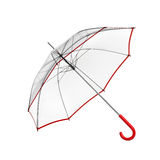 Clear transparent umbrella isolated on white background. 3D illustration . Royalty Free Stock Photography