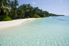 Clear transparent water in maldives Royalty Free Stock Image