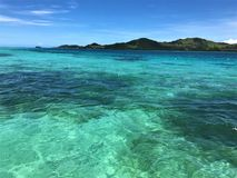 Clear tropical blue waters of the Caribbean royalty free stock images