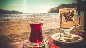Clear Turkish Glass on Saucer Royalty Free Stock Photography