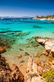 Clear turquoise water of Cala Corsara in Sardinia Italy royalty free stock photography