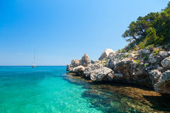Clear turquoise water of  Cala Luna in Sardinia Stock Photo