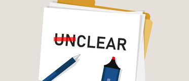 Clear unclear word strikethrough text. Concept of confuse and clarity. Royalty Free Illustration