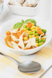 Clear vegetable noodle soup Stock Photography