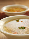 Clear vegetable soup. Close up. Shallow depth of field Stock Photo