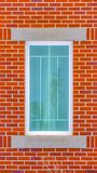 Clear Vertical Close up of the rectangular window of a building with red brick wall royalty free stock photography
