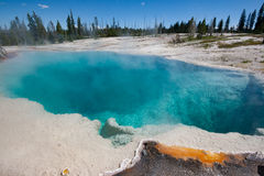 Clear Vibrant Blue thermal Hot Spring in Yellowstone National Park. A vibrant clear blue thermal hot spring in the sulfuric landscape of Yellowstone National Royalty Free Stock Photo