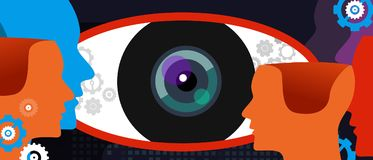 Clear vision big eye thinking concept of digital surveillance technology watching privacy spy stock illustration