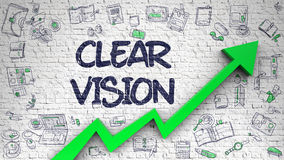 Clear Vision Drawn on White Brickwall. 3D. royalty free illustration