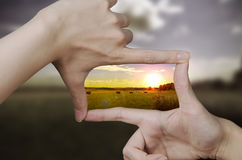 Clear vision of a sunset Stock Images