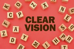 Clear Vision with wooden word blocks scattered around.  Royalty Free Stock Photo
