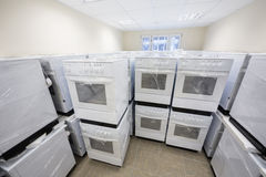 Clear warehouse electric stoves Stock Photo