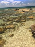 The clear warm waters of the Ageaen sea. Paphos Cyprus 2017 Royalty Free Stock Images