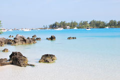Clear water beach. Crystal clear blue water beach with calm sea Stock Photography
