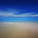 Clear water on the beach with blue sky Royalty Free Stock Photography