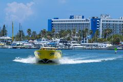 Clear water beach florida skyline and speed boat. Clearwater stock photos