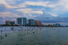 Clear water beach florida skyline at sunset. Clearwater stock photos