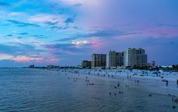 Clear water beach florida skyline at sunsete at sunset. Clearwater stock photography