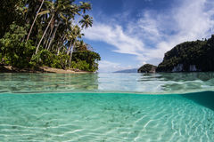 Clear Water, Beach, and Tropical Islands. Warm, clear water bathes a tropical island in Raja Ampat, Indonesia. This beautiful region is known to harbor high Stock Photography