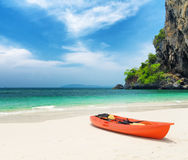 Clear water and blue sky. Beach in Krabi province, Thailand Stock Photos