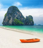 Clear water and blue sky. Beach in Krabi province, Thailand Royalty Free Stock Photo
