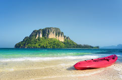 Clear water and blue sky. Beach in Krabi province, Thailand Stock Image