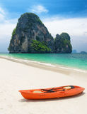 Clear water and blue sky. Beach in Krabi province, Thailand Stock Photography