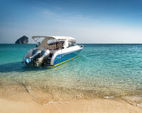 Clear water and blue sky. Beach in Krabi province, Thailand Royalty Free Stock Photography