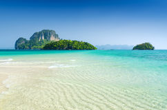 Clear water and blue sky. Beach in Krabi province, Royalty Free Stock Photos