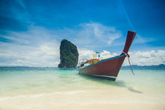 Clear water and blue sky. Beach in Krabi. Royalty Free Stock Image