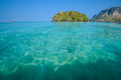 Clear water and blue sky. Beach in Krabi province, Thailand. Stock Photo