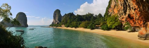 Clear water, blue sky at cave beach, Krabi Royalty Free Stock Image
