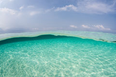 Clear Water and Blue Sky in Tropical Pacific Royalty Free Stock Images