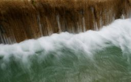 Clear water flow of the Tad Sae waterfall in Luang Prabang, Laos. Long shutter speed shot, abstract background Stock Images