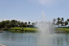 Clear water fountain. Water fountain at Vidanta Nuevo Vallarta stock photos