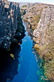 Clear gap. Clear water gap on Þingvellir in Iceland Stock Images