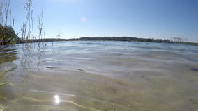 Clear water lake closeup. Light waves in the wind stock footage