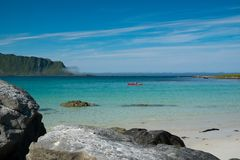 Clear water of Lofoten islands, Norway Stock Photo